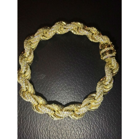 Harlembling Other - Mens 12mm Rope Bracelet 14k Gold & Real Solid 925